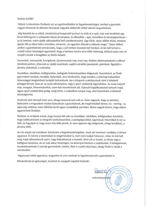 Intézményvezetői levél szeptember