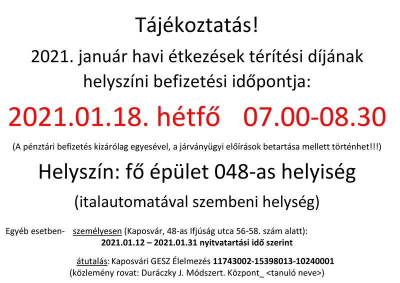 Étkezési térítési díj befizetési időpontok (jan)