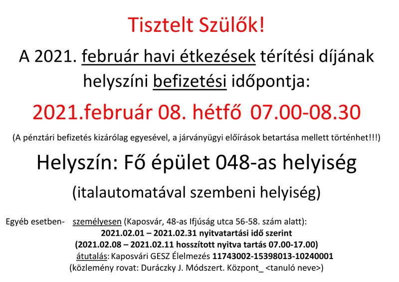Étkezési térítési díj befizetési időpontok (feb)